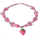 fuchsia aardbei kinderketting