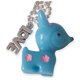 blauw hertje en love kinderketting ladies charm
