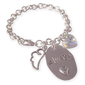 You are always in my heart bedelarmband met engel vleugeltje en hart bedel