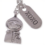 Roodkapje en xoxo damesketting en kinderketting ladies charm