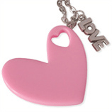 roze hart en love kinderketting ladies charm